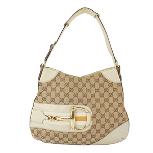 Auth Gucci  Shoulder Bag Horse Bit GG Canvas 137388 Ivory Brown Women's