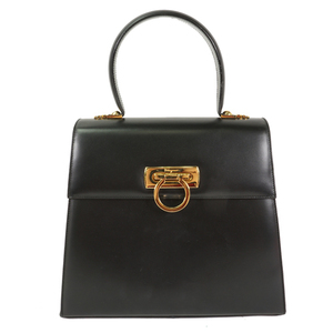 Auth Salvatore Ferragamo Gancini 2way Shoulder Bag E210536 Black Leather Handbag