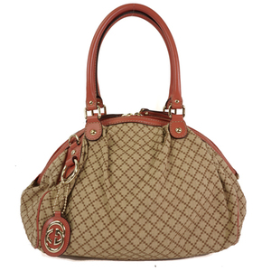 Auth Gucci Sukey Diamante 223974 Leather,Canvas Handbag Beige Brown, Pink