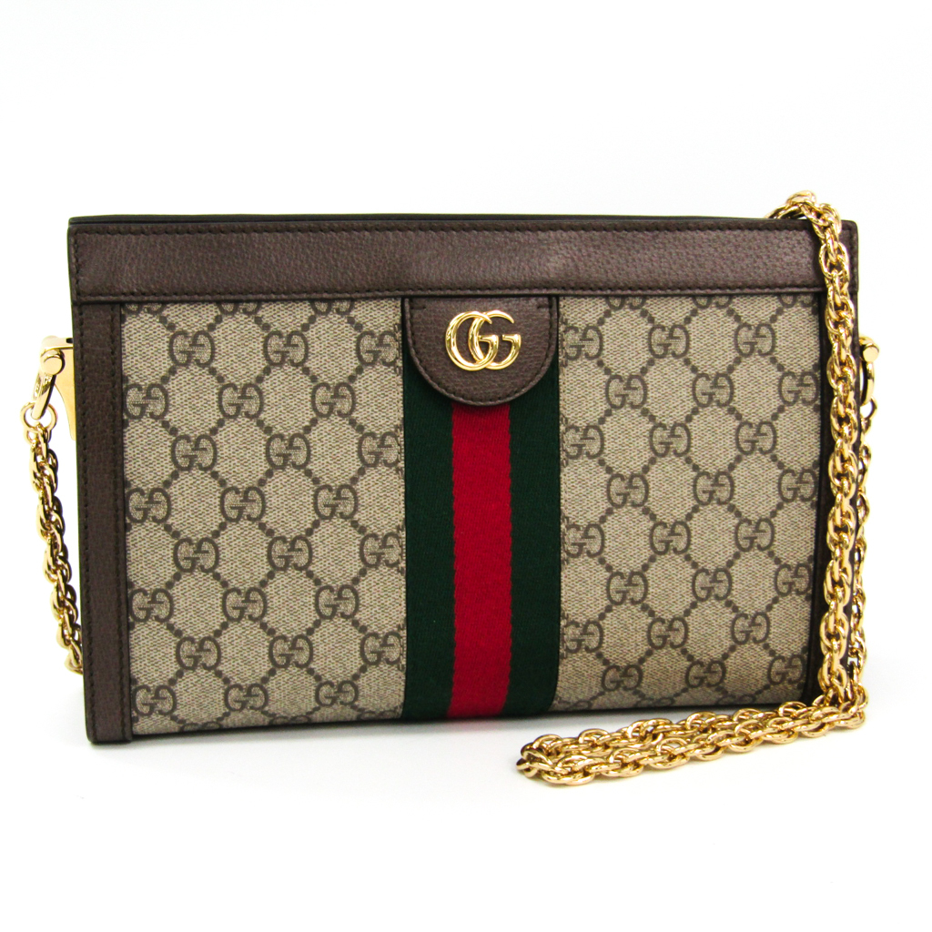 2bc8c0b1e731 Gucci Ophidia 503877 Women's GG Supreme,Leather/Webbing Shoulder Bag Br  BF331686