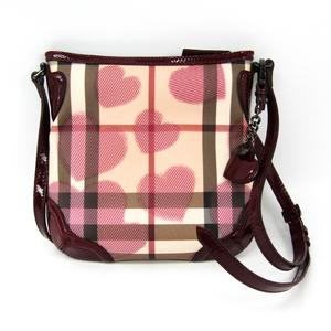 Burberry Heart Print 3640008 Women's PVC,Patent Leather Shoulder Bag Beige,Bordeaux