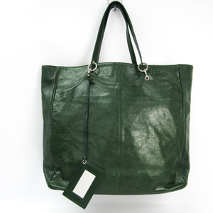 Balenciaga 314485 Women's Leather Tote Bag Green
