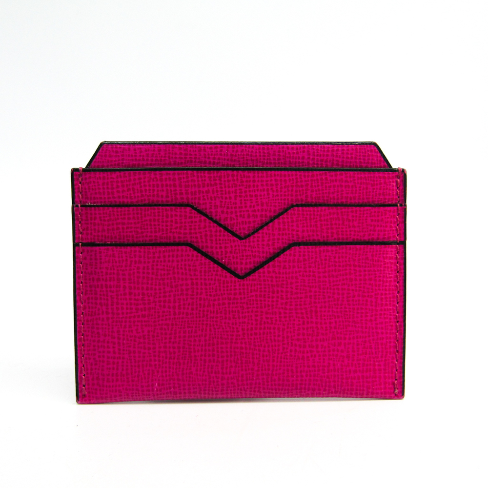 Valextra Leather Card Case Pink V8L77