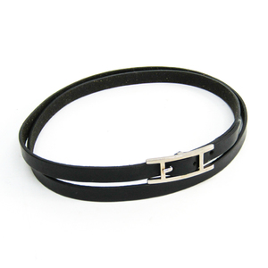 Hermes Hapi III Leather Unisex Choker Necklace (Black)