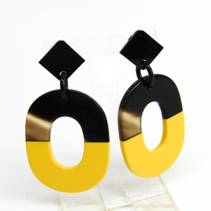 Hermes Lacquer,Buffalo Horn Drop Earrings Brown,Yellow Isthme