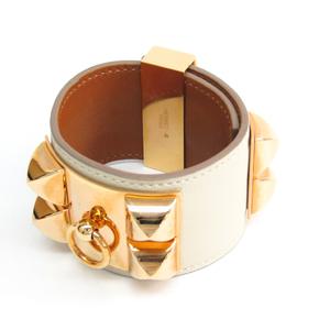 Hermes Collier De Chien Swift Leather Bracelet Ivory,Pink Gold