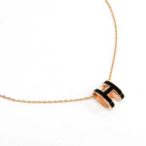Hermes Pop H Lacquer,Metal Women's Pendant Necklace (Pink Gold,Black)