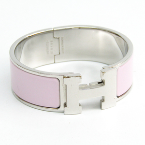 Hermes Clic Clac PM H300001FP05PM Cloisonné/enamel,Metal Bangle Rose Dragee,Silver