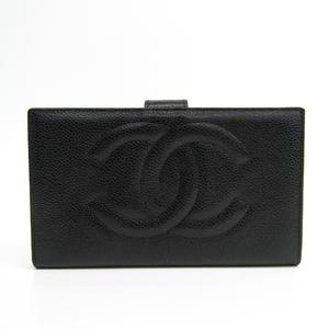 シャネル(Chanel) A01429 レディース  キャビアスキン 長財布(二つ折り) ブラック