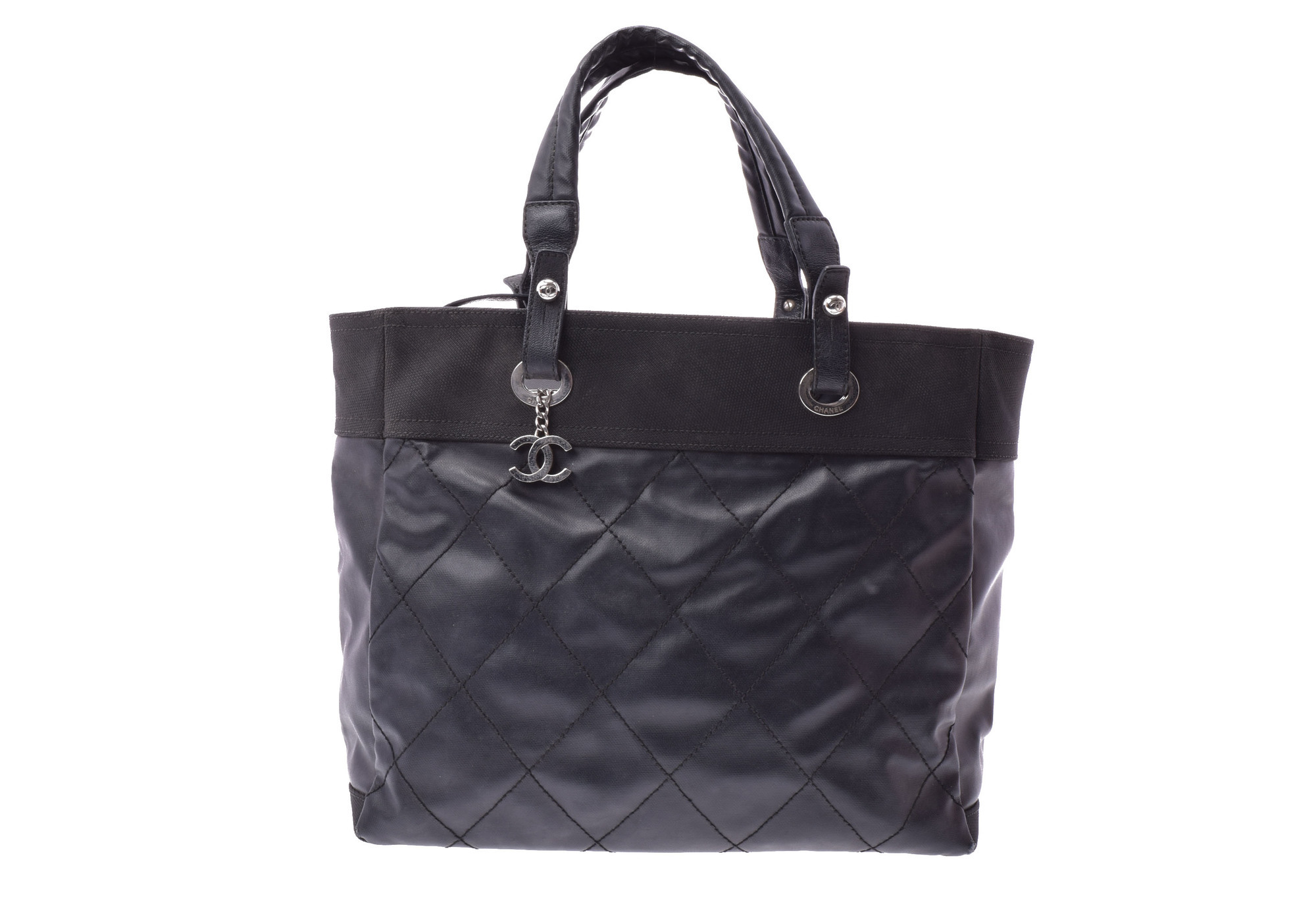ef150eeb3768 Authentic Chanel Paris Biarritz Totebag MM Leather Tote Bag Blac  805000919631000