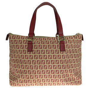 Fendi Zucca Leather Women's Tote Bag Red Beige