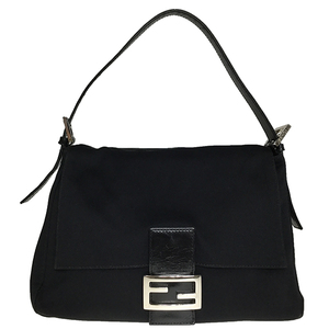 Fendi Jersey 2348 MAMMA BAGUETTE Leather Sholder Bag Black