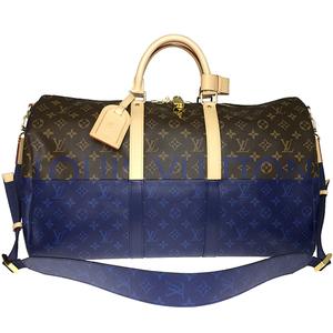 ルイ・ヴィトン(Louis Vuitton) モノグラム・スプリットキャンバス M43861 キーポル・バンドリエール50 ボストンバッグ ブルー