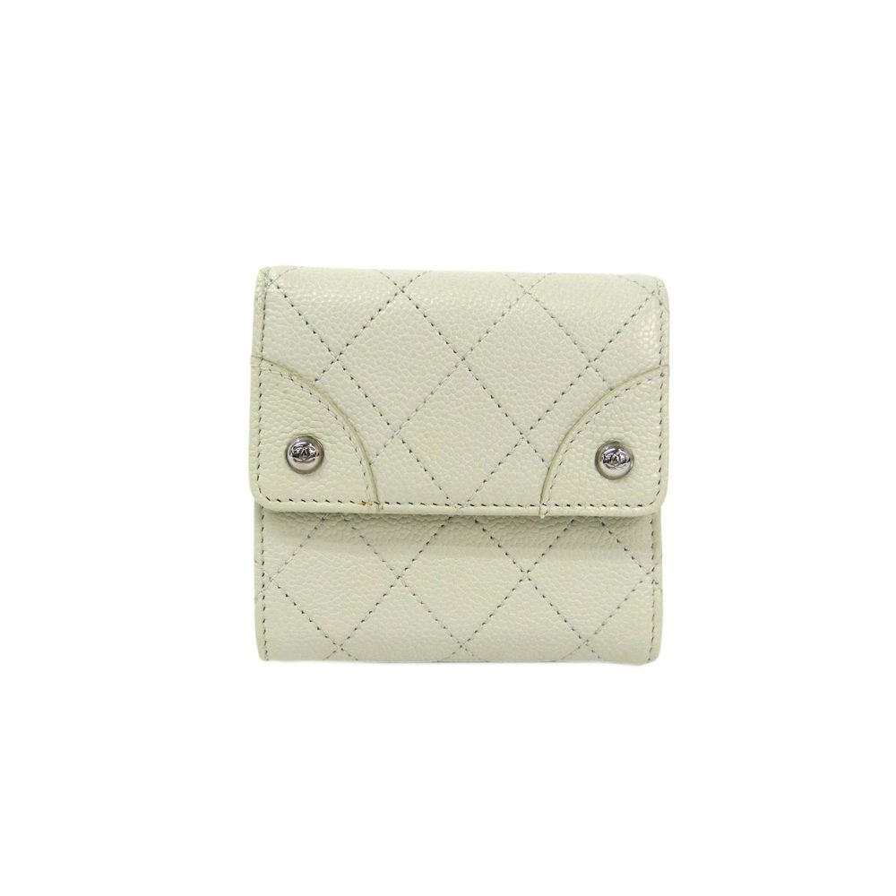 Chanel Matelasse A37618 Women's Caviar Leather Caviar Leather Wallet (tri-fold) Off-white