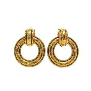 CHANEL Clip Earrings Metal Gold