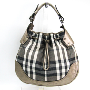 Burberry House Check Women's Canvas,Leather Shoulder Bag Metallic Gray