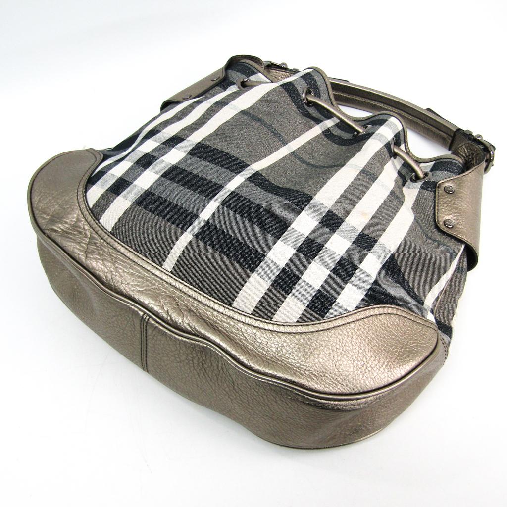 4c7862f4a5d Burberry House Check Women's Canvas,Leather Shoulder Bag Metallic ...