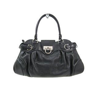 Salvatore Ferragamo Hand bag Gancini Leather Black AB-21 5370