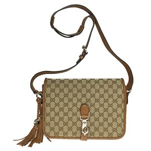 021f10184c67 Gucci GG Canvas 257024 Leather Shoulder Bag Brown,Beige