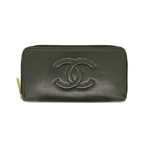 7c1bc97860e8 Auth Chanel Long Wallet (bi-fold) Round Fastener Caviar Leather Black Gold