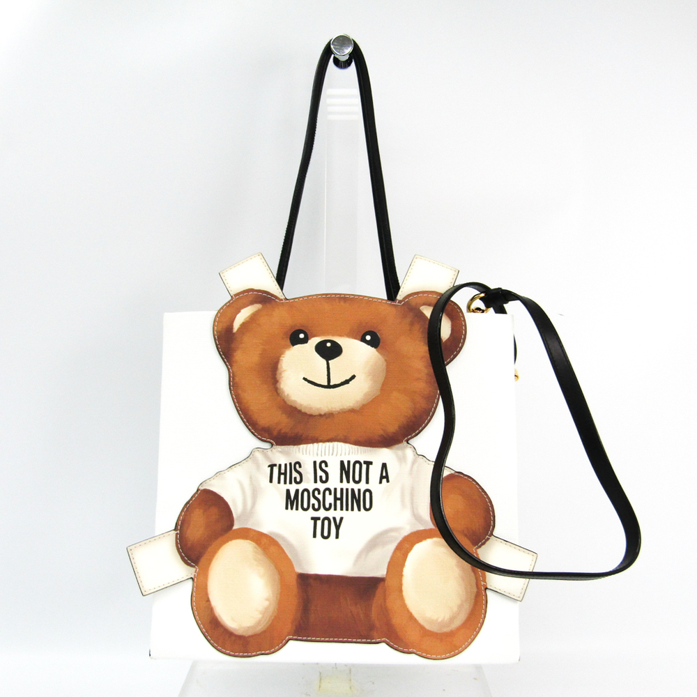 2194782563 Moschino Teddy Bear Panel Tote A75458210 Women's Leather Tote Bag  White,Brown