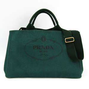 Prada Canapa B1872G Women's Canvas Tote Bag Green