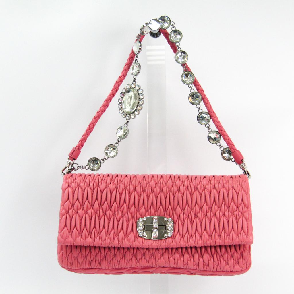7e1ab07ebb6 Miu Miu Matelasse NAPPACRISTAL RP0233 Women s Leather Handbag Pink BF332089