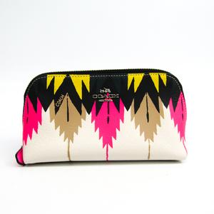 Coach 53216 Women's Leather Pouch Pink,Black,Multi-color