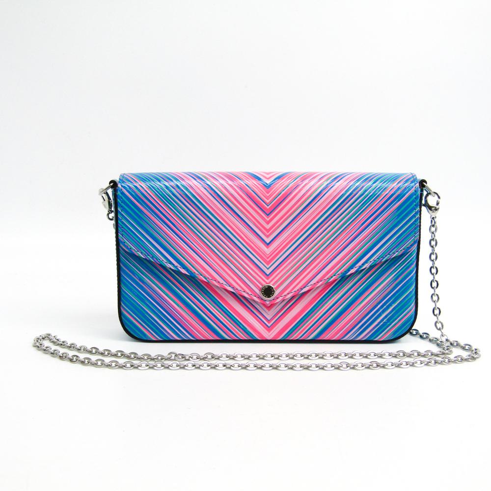 Louis Vuitton Epi Pochette Felice M62768 Women s Epi Leather Chain Shoulder  Wallet Blue 7c14a06b92553