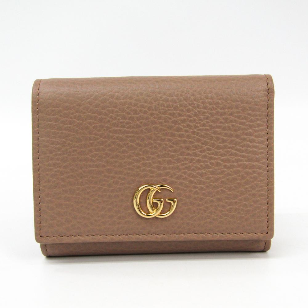 on sale 45fe1 0f37a Gucci GG Marmont 474746 Women's Leather Wallet (tri-fold) Beige | elady.com