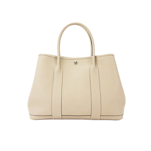 Auth Hermes Tote Bag Garden Party PM Leather Etoupe Gray