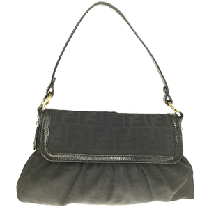Fendi Zucca Canvas 8BR445 Shoulder Bag Black