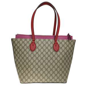 add9581011a3ef Gucci 415721 Women's GG Supreme Leather Tote Bag Beige Red Pink