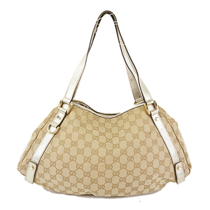 eb2fab04d1bf57 Auth Gucci GG Canvas Shoulder Bag 130736 Bag Beige,Gold