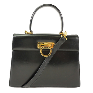 サルヴァトーレ・フェラガモ(Salvatore Ferragamo) ガンチーニ 2wayハンドバッグ 2way Handbag ショルダーバッグ,ハンドバッグ ブラック