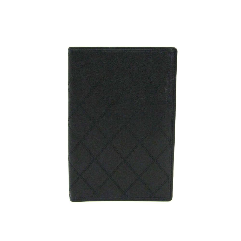 CHANEL Bifold Wallet Calfskin Leather Black