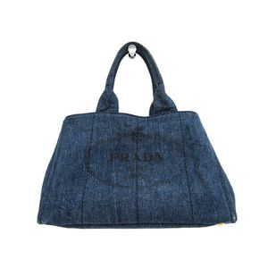PRADA Canapa Tote Bag Denim Blue