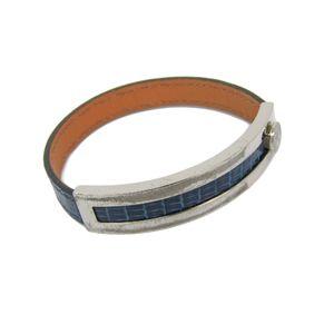 Hermes Pusu Pusu Lizard Bracelet Navy,Silver