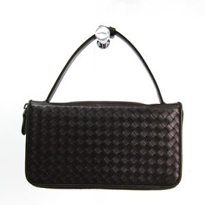 Bottega Veneta Intrecciato Travel Case 169730V46512006 Unisex Leather Long Wallet (bi-fold) Brown