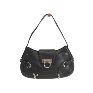 Ferragamo Shoulder Bag Gancini Calfskin Leather Black AU-21/5356