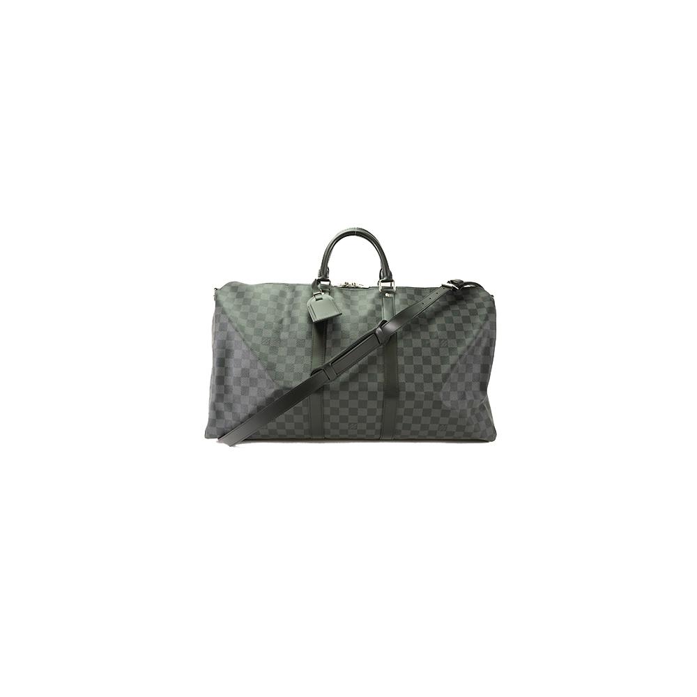 Auth Louis Vuitton Boston Bag Damier Graphite Keepall Bandouliere 55 N41413 bc343dac10