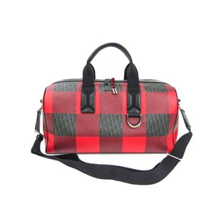 ディオール・オム(Dior Homme) ディオールオム ボストンバッグ チェック柄 PVC/レザー レッド/ブラック
