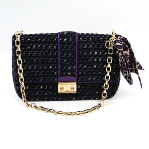 Christian Dior Miss Dior Women's Tweed,Leather Shoulder Bag Black,Navy,Purple