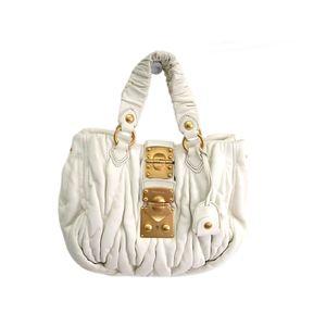 MIU MIU Matrasse Hand bag Lambskin Leather BIANCO RN0473
