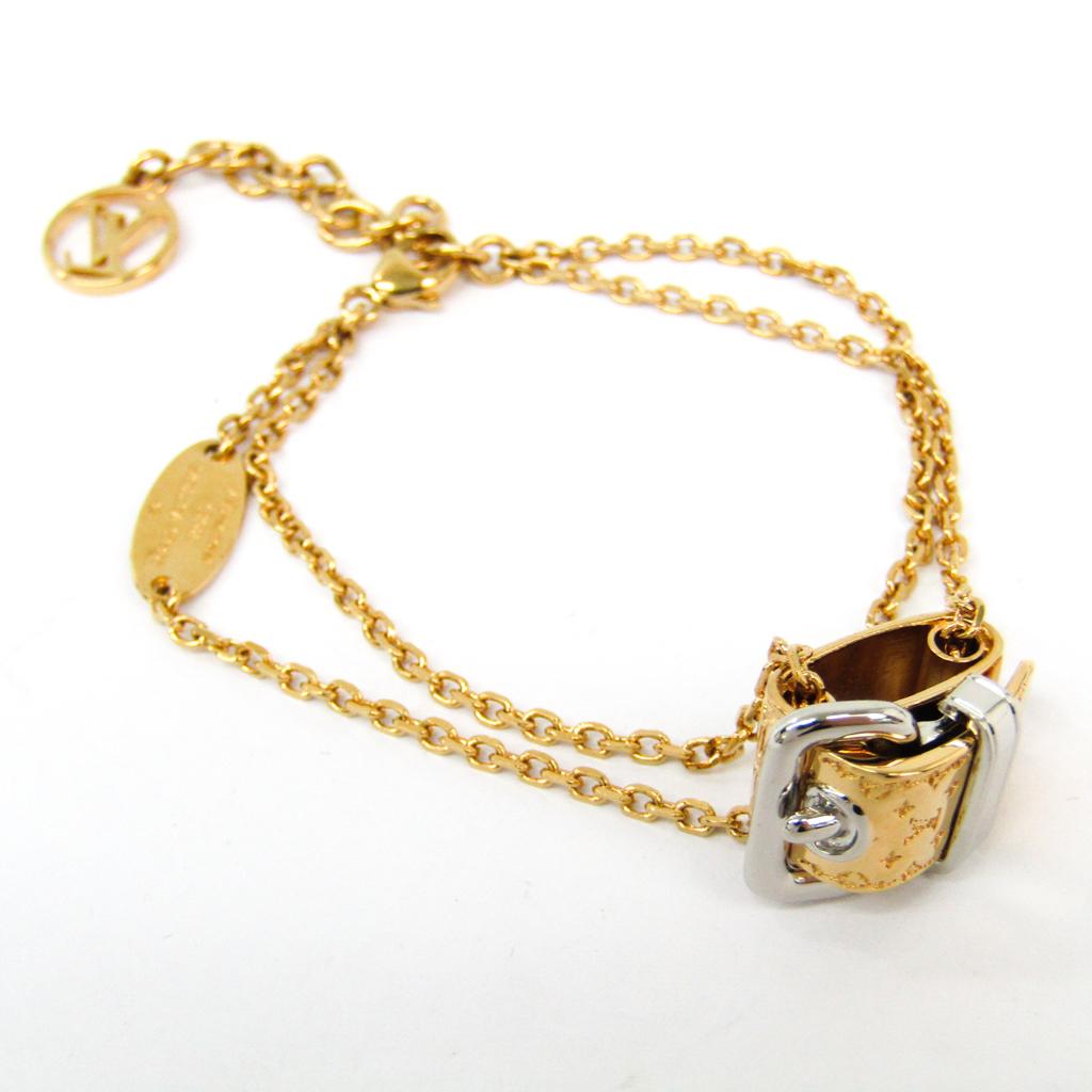 c8feb2e7b0055 Louis Vuitton Bracelet Nanogram M64704 Metal Charm Bracelet Gold ...