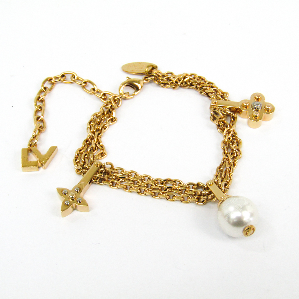 Louis Vuitton Charmy Pearl M75445 Artificial Metal Charm Bracelet Gold