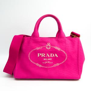 Prada Canapa 1BG642 Women's Canvas Tote Bag Fuxia