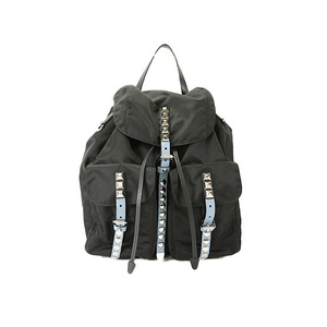 Auth Prada Nylon Backpack Zainetto Tessuto New Vela Studs 1BZ811
