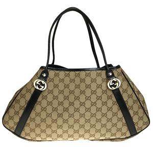 14af17b1df95 Gucci GG Twins 232963 GG Canvas Leather Shoulder Bag Beige,Black
