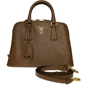 Prada Saffiano LAX BL0838 Handbag Sholderbag Caramel